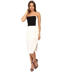 Halston Strapless Dress With Flowy Drape Chalk Black Women's Dress White