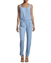 Candc California C And C California Wide Leg Sleeveless Jumpsuit Chambray