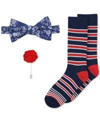 Bar Iii Men's Bow Tie Lapel Pin And Socks Set Only At Macy's Navy