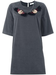 Au Jour Le Jour Embroidered Bird T Shirt Dress Grey