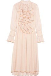 See By Chloe Ruffled Crinkled Chiffon Midi Dress Pink