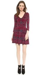 Marchesa Voyage V Neck Jacquard Dress Garnet Navy Zig Zag