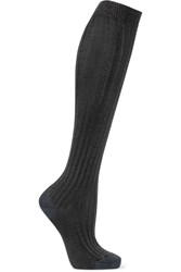 Isabel Marant Ribbed Stretch Silk Blend Socks Gray