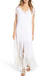 Band Of Gypsies Women's Crochet Button Front Maxi Dress