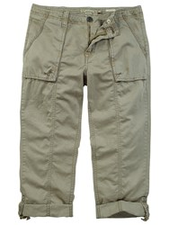 Fat Face Washed Utility Cropped Trousers Khaki