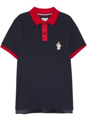 Moncler Gamme Bleu Navy Contrast Trim Pique Cotton Polo Shirt