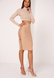Missguided Lace Up Double Side Bandage Skirt Nude Beige