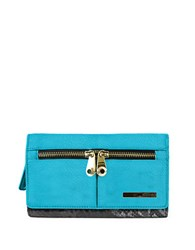 Kenneth Cole Reaction Wooster Street Leather Wristlet Turquoise