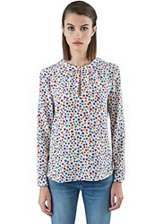 Saint Laurent Star Print Long Sleeved Blouse White