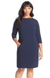 Plus Size Women's Tahari By Arthur S. Levine Seamed A Line Dress Navy