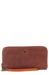 Will Leather Goods 'Imogen' Washed Italian Lambskin Leather Checkbook Clutch Cognac