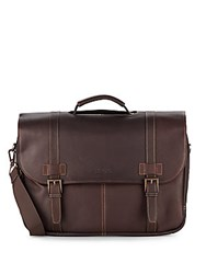 Kenneth Cole Reaction Leather Flap Briefcase Dark Brown
