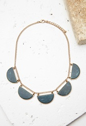 Forever 21 Faux Stone Statement Necklace Green Antic.G