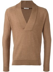 Paolo Pecora Deep V Neck Jumper Brown