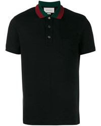 Gucci Cotton Polo Shirt With Web Collar Black Red Green