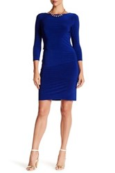 Tahari Melange Tiered Jersey Dress Blue
