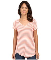 Mod O Doc Linen Knit Stripe Short Sleeve V Neck Tee Cali Coral Women's T Shirt Pink