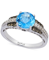 Le Vian Petite Collection Blue Topaz 2 1 10 Ct. T.W. And Diamond 1 4 Ct. T.W. Ring In 14K White Gold