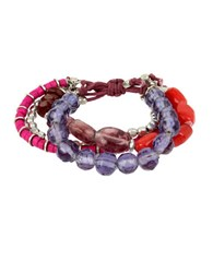 Kenneth Cole Mixed Berry Faceted Bead Multi Row Stretch Bracelet Red