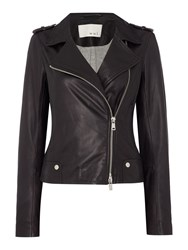 Oui Leather Jacket Black