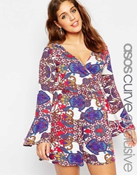 Asos Curve 70'S Print Playsuit With Bell Sleeve Multi