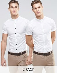 Asos Skinny Shirt In White With Grandad Collar And Short Sleeves 2 Pack Save 15 White