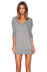 Bobi Light Weight Jersey Long Sleeve Dolman V Neck Tunic Gray