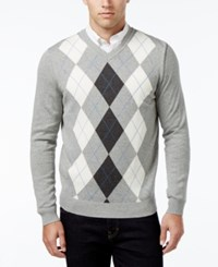 Club Room Men's V Neck Argyle Sweater Only At Macy's Light Grey Heather
