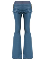 Andrea Bogosian Leather Flared Trousers Blue