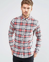 Blend Of America Blend Slim Check Shirt Buttondown In Cranberry Red Cranberry Red