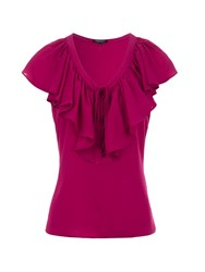 Morgan Ruffle Front Fitted Top Red