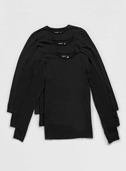 Topman Long Sleeve Black Crew Neck T Shirt 3 Pack