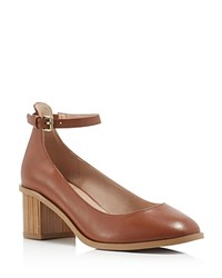 French Connection Clemena Ankle Strap Pumps Brown