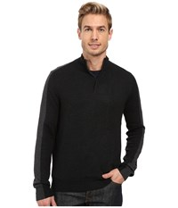 Perry Ellis Color Block 1 4 Zip Sweater Black Heather Men's Sweater