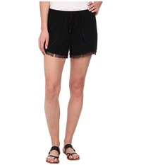 Sam Edelman Fringe Trim Short W Smocked Waist Black Women's Shorts