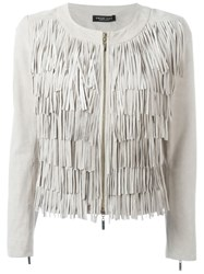 Twin Set Fringed Jacket Nude And Neutrals