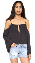 Blue Life Open Shoulder Top Soft Black