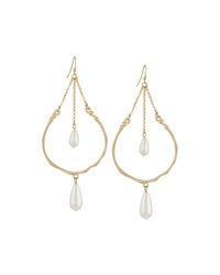 Lydell Nyc Golden Hammered Metal And Chain Earrings W Pearly Drops