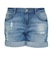 Hallhuber Sparkly Denim Shorts Mid Blue