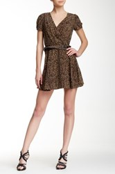 The Kooples Printed Short Sleeve Silk And Leather Dress Brown