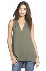 Lush Sleeveless High Low Tunic Top New Olive