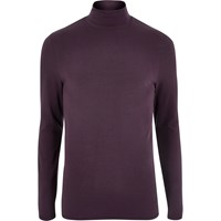 River Island Mens Purple Muscle Fit Roll Neck T Shirt