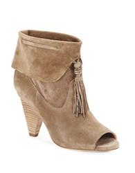 Sigerson Morrison Faro Suede Tassel Ankle Boot Ivory