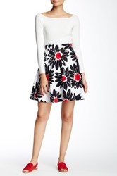 Amanda And Chelsea Daisy Print Circle Skirt Petite White