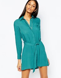 Club L Relaxed Shirt Dress Teal Green