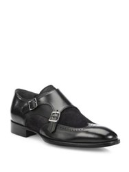 To Boot Cameron Leather Double Monk Strap Dress Shoes Black