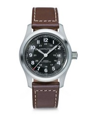 Hamilton Khaki Field Stainless Steel And Leather Strap Watch Brown
