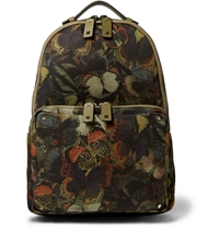 Valentino Leather Trimmed Butterfly Print Canvas Backpack Green