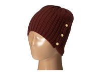 Michael Michael Kors Jersey Shallow Hat With Buttons Merlot Polished Gold Caps Red