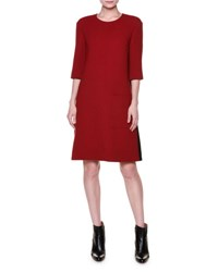 Marni Half Sleeve A Line Patch Pocket Dress Red